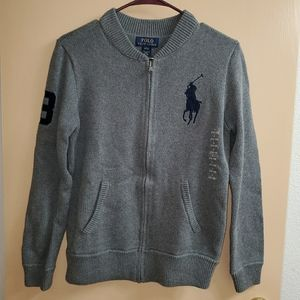 ❌SOLD❌ 🆕 Boys Polo RL Gray Zip Up Sweater L 14-16